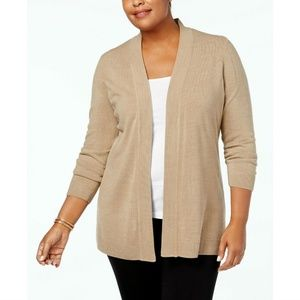 Karen Scott Open-Front Cardigan  Chestnut Heather